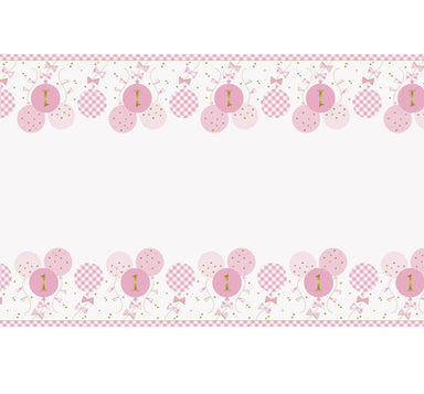 Pink Gingham 1st Birthday Tablecover - PartyFeverLtd