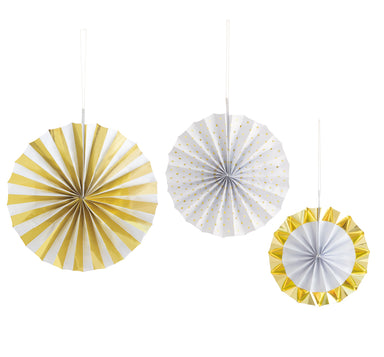 Gold Paper Fan Kit - PartyFeverLtd