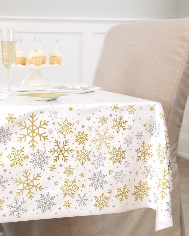 Silver & Gold Snowflake Tablecover - PartyFeverLtd