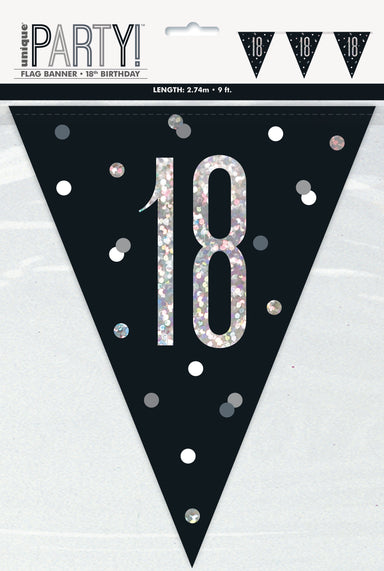 18th Birthday Black Bunting - PartyFeverLtd