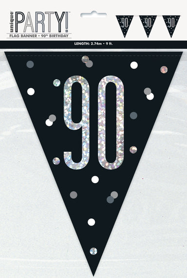90th Birthday Black Bunting - PartyFeverLtd