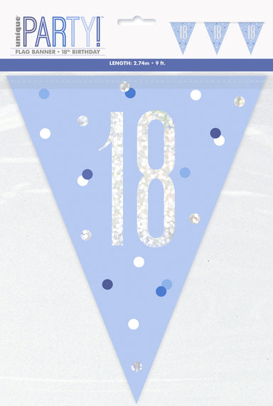 18th Birthday Blue Bunting - PartyFeverLtd
