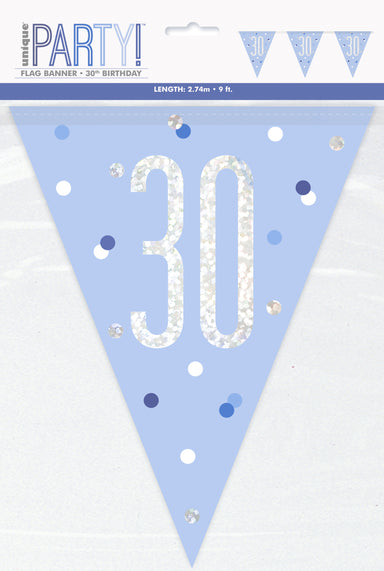 30th Birthday Blue Bunting - PartyFeverLtd