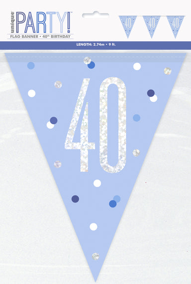 40th Birthday Blue Bunting - PartyFeverLtd