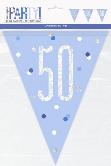 50th Birthday Blue Bunting - PartyFeverLtd