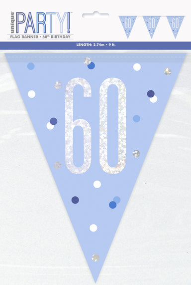 60th Birthday Blue Bunting - PartyFeverLtd