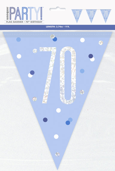 70th Birthday Blue Bunting - PartyFeverLtd