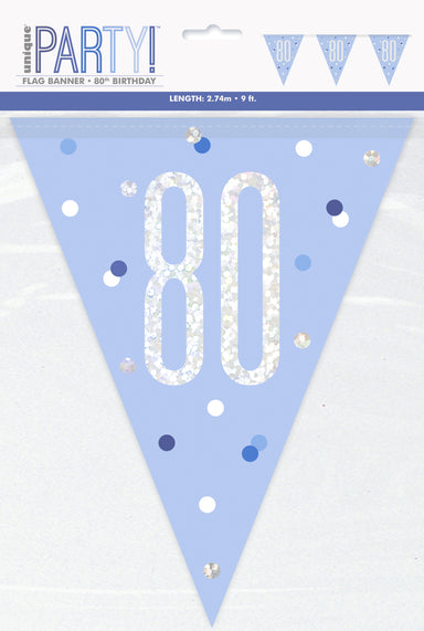 80th Birthday Blue Bunting - PartyFeverLtd