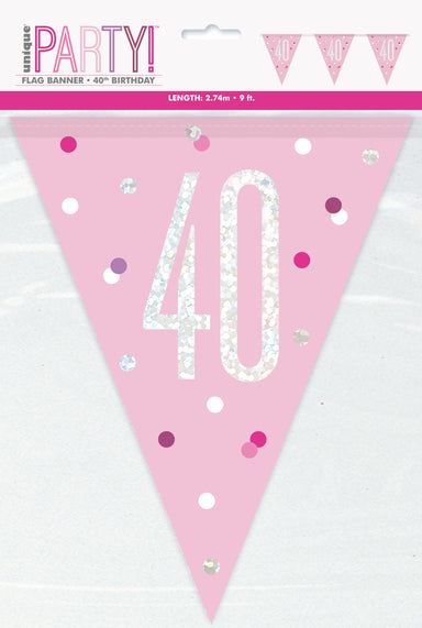 40th Birthday Pink Bunting - PartyFeverLtd