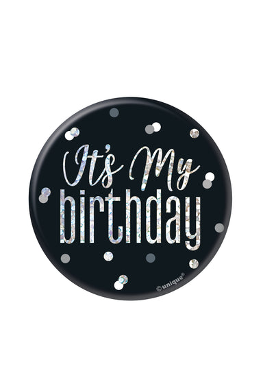 Glitz Black Birthday Badge - PartyFeverLtd