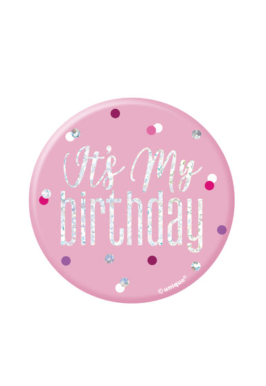 Glitz Pink Birthday Badge - PartyFeverLtd