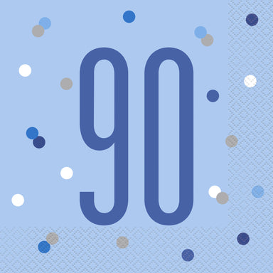 Glitz Blue & Silver 90th Birthday Napkins - PartyFeverLtd