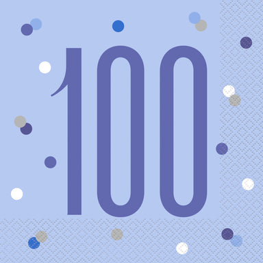 Glitz Blue & Silver 100th Birthday Napkins - PartyFeverLtd