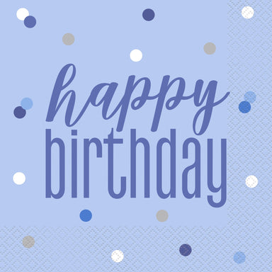 Glitz Blue & Silver Happy Birthday Napkins - PartyFeverLtd