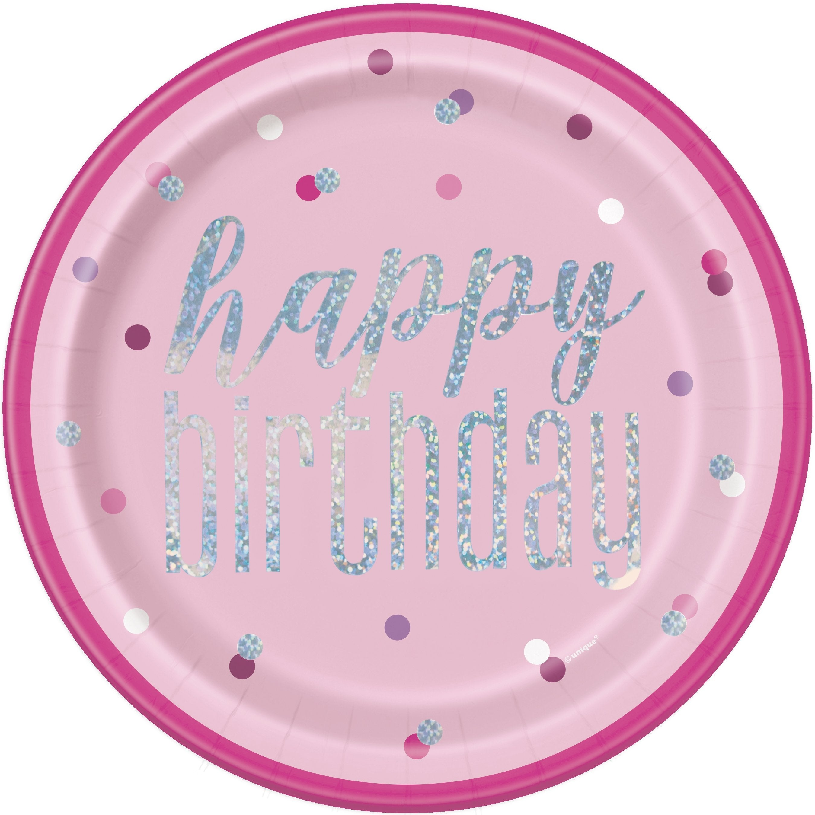 Glitz Pink & Silver Birthday Party Plates - PartyFeverLtd