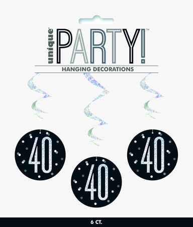 40th Birthday Black Hanging Swirls - PartyFeverLtd