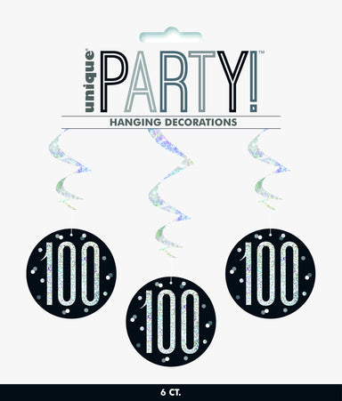 100th Birthday Black Hanging Swirls - PartyFeverLtd