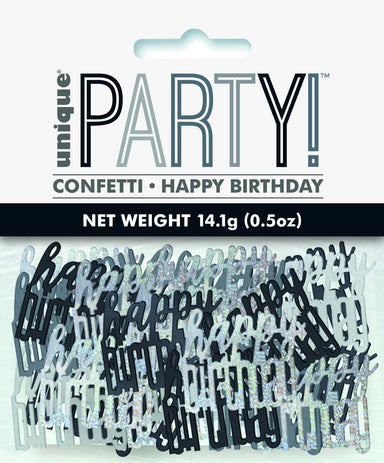 Glitz Black Happy Birthday Confetti - PartyFeverLtd