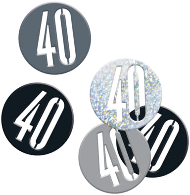 Glitz Black 40th Birthday Confetti - PartyFeverLtd
