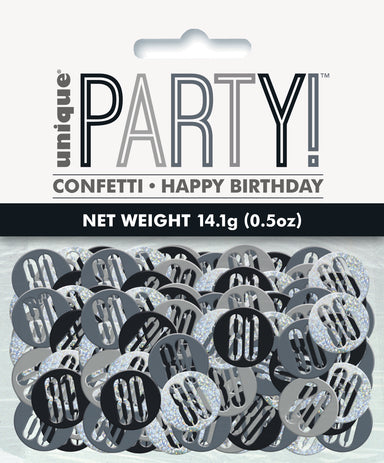 Glitz Black 80th Birthday Confetti - PartyFeverLtd