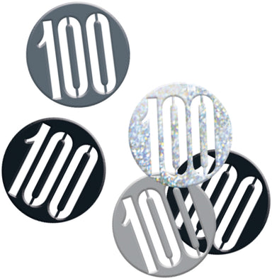 Glitz Black 100th Birthday Confetti - PartyFeverLtd