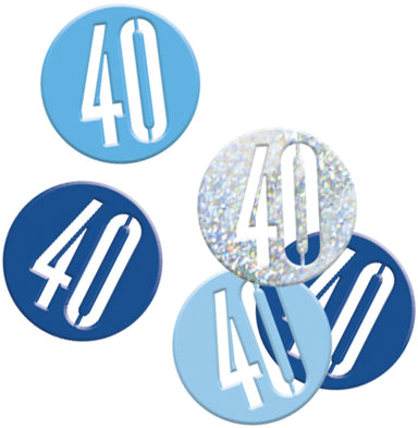 Glitz Blue 40th Birthday Confetti - PartyFeverLtd