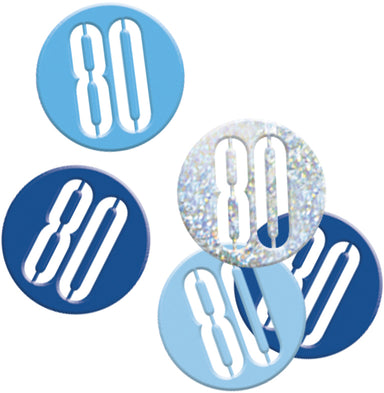 Glitz Blue 80th Birthday Confetti - PartyFeverLtd