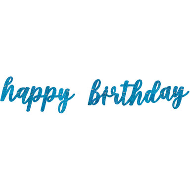 Blue Happy Birthday Script Banner - PartyFeverLtd