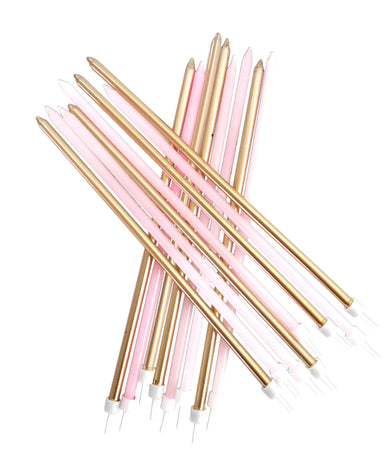 Extra Tall Pink & Gold Candles - PartyFeverLtd