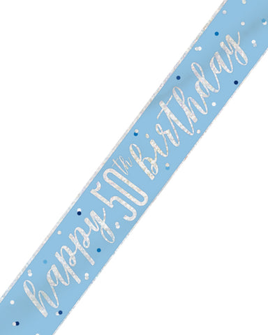 50th Birthday Blue Banner - PartyFeverLtd