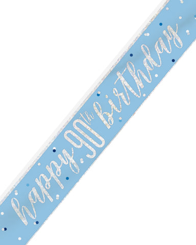 90th Birthday Blue Banner - PartyFeverLtd