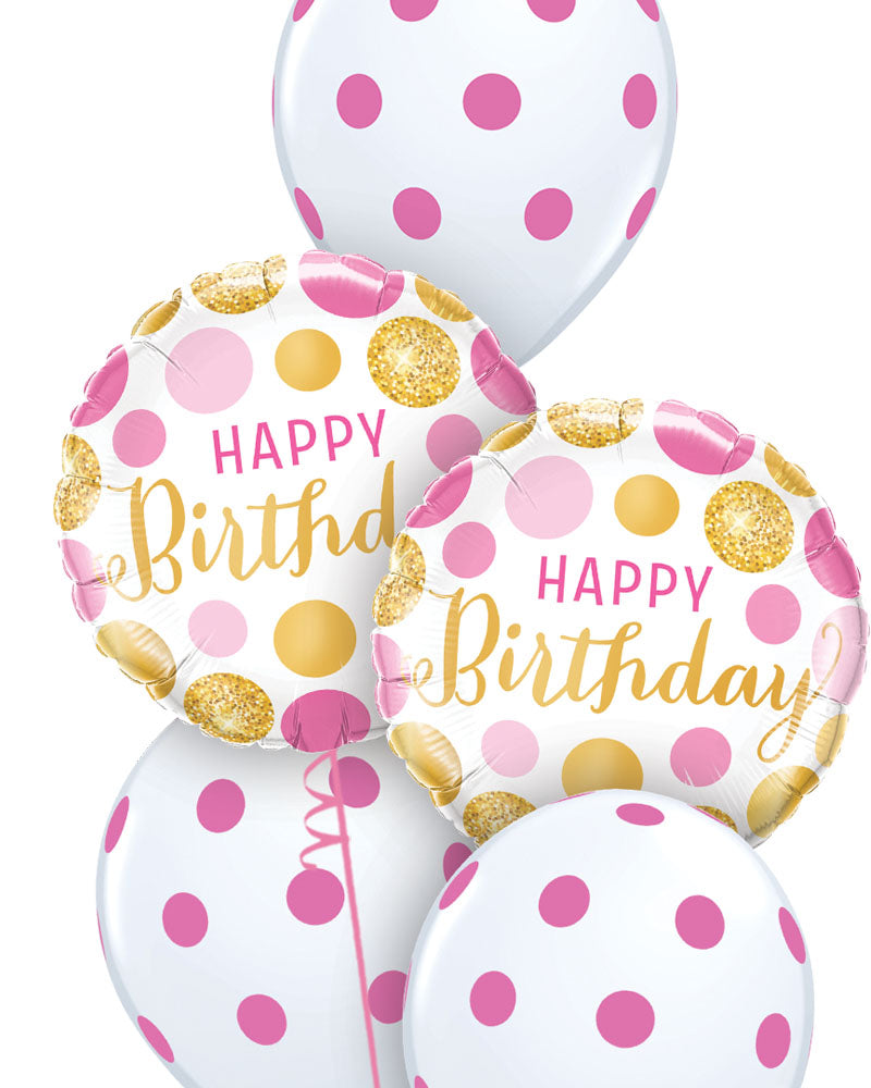 Pink & Gold Dots Birthday Balloon Bouquet - PartyFeverLtd