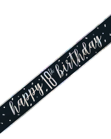 18th Birthday Black Banner - PartyFeverLtd