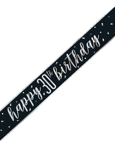 30th Birthday Black Banner - PartyFeverLtd