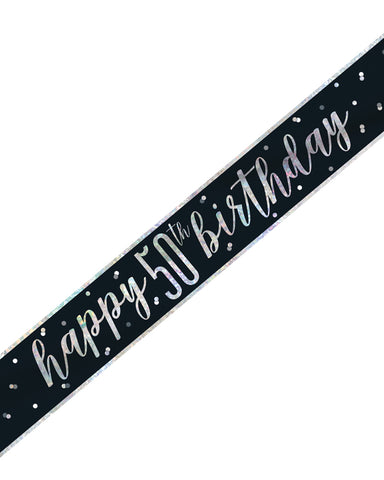 50th Birthday Black Banner - PartyFeverLtd