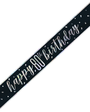 80th Birthday Black Banner - PartyFeverLtd