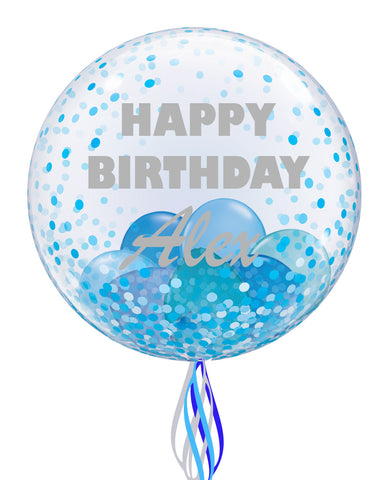 Blue Personalised Bubble Balloon - PartyFeverLtd