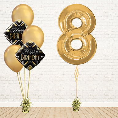 Glamorous Gold Number Birthday Package - PartyFeverLtd