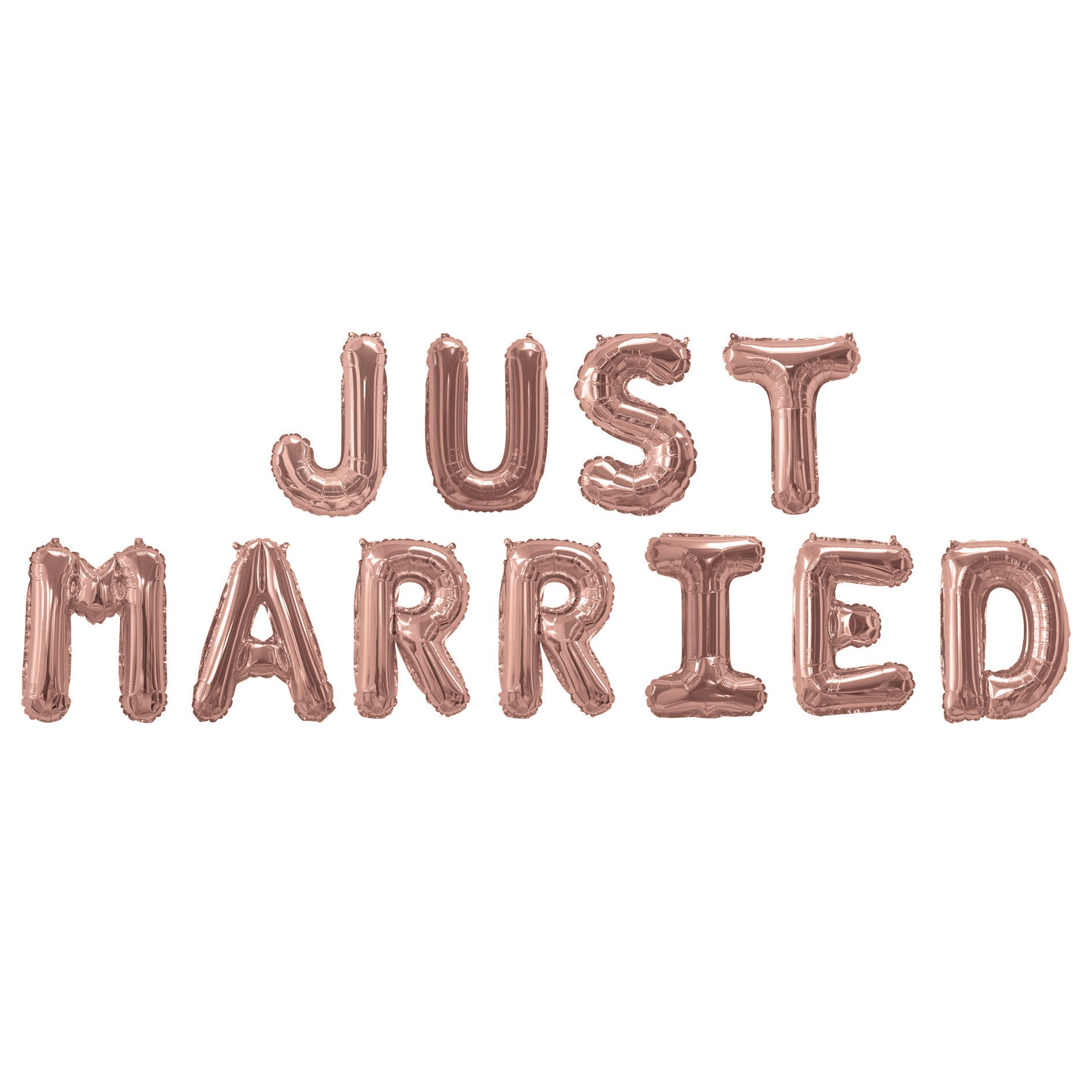 Just Married Rose Gold Balloon Banner - PartyFeverLtd