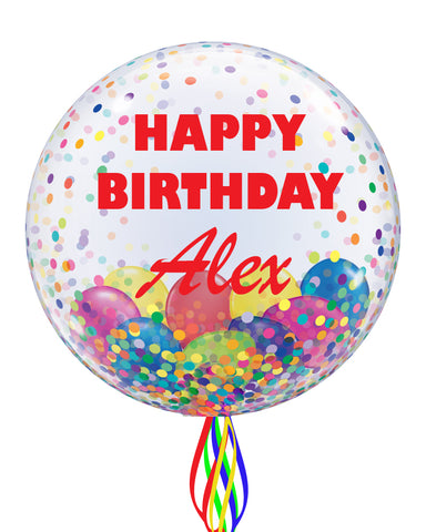 Rainbow Personalised Bubble Balloon - PartyFeverLtd
