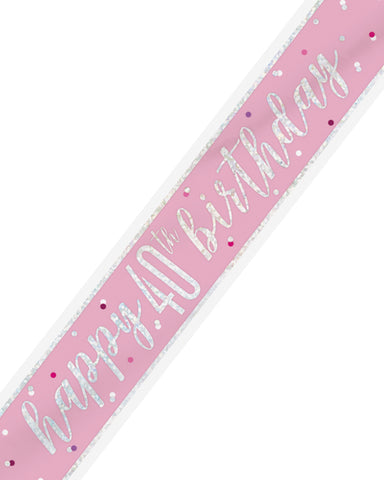 40th Birthday Pink Banner - PartyFeverLtd