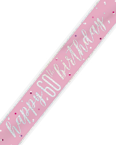 60th Birthday Pink Banner - PartyFeverLtd