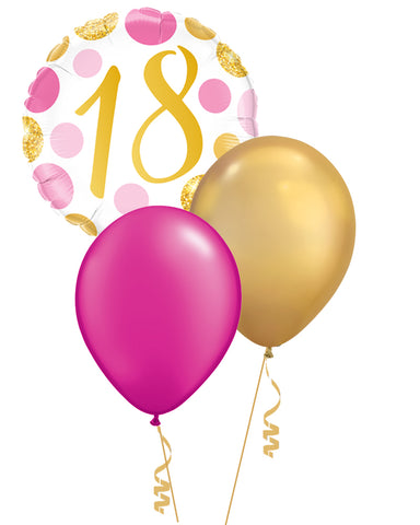 Pink & Gold Dots 18th Birthday Balloon Bouquet - PartyFeverLtd