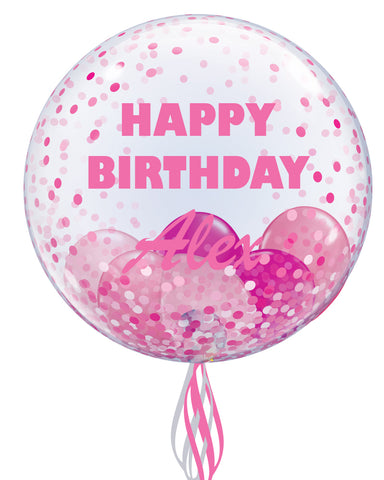 Pink Personalised Bubble Balloon - PartyFeverLtd