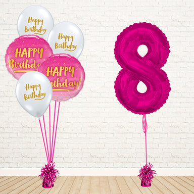 Hot Pink Number Birthday Package - PartyFeverLtd