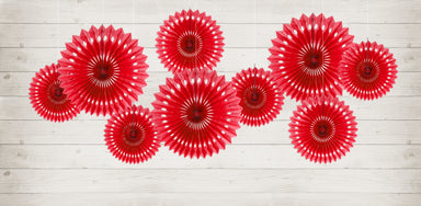 Decorative Rosettes - Red - PartyFeverLtd