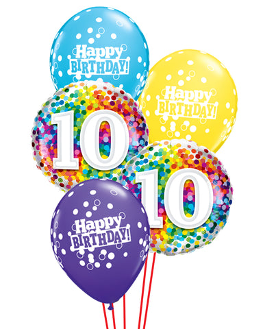 10th Birthday Balloon Bouquet - PartyFeverLtd