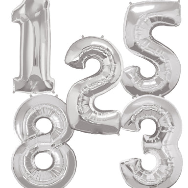 Giant Silver Number Balloon - PartyFeverLtd