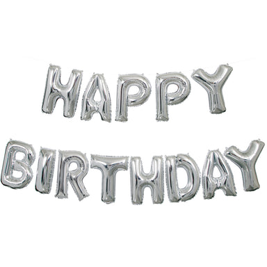 Silver Happy Birthday Balloon Banner - PartyFeverLtd