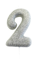Silver Number 2 Candle - PartyFeverLtd